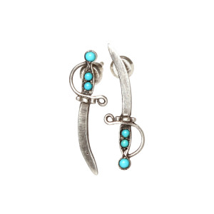 Turquoise Dagger Stud Earrings