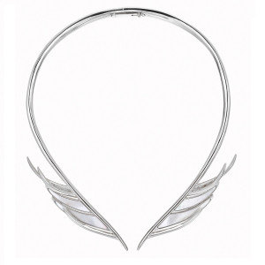 Mother of Pearl Feather Silver Choker