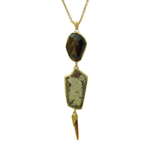 Tiger Eye Pyrite Necklace
