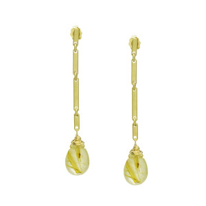 Rutilated Quartz Gold Link Bar Earrings