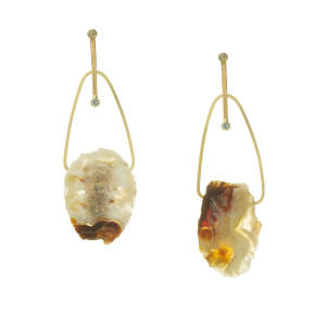 Brazilian Agate Gold Earrings